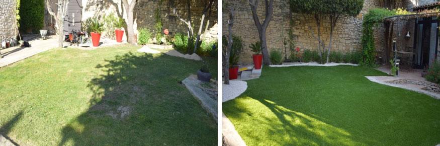 Installation gazon synthétique 40 mm à Avignon dans le Vaucluse