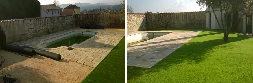 Gazon synthétique 40 mm  à Avignon dans le Vaucluse autours d'une piscine superficie 160 m².