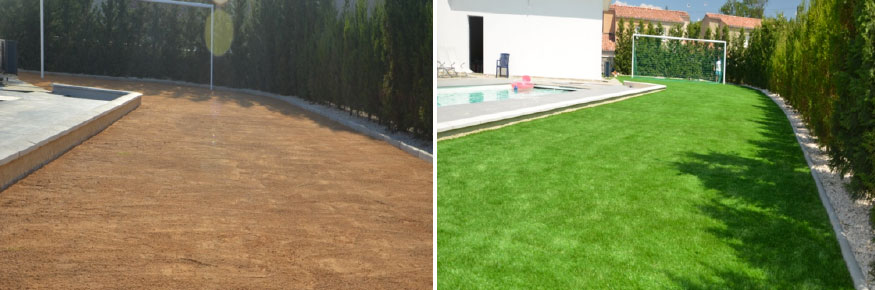 Gazon synthétique 50 mm dans un jardin d'une maison contemporaine sur le secteur de Martigues dans les Bouches-du-Rhône faisant office de stade de foot pour les enfants